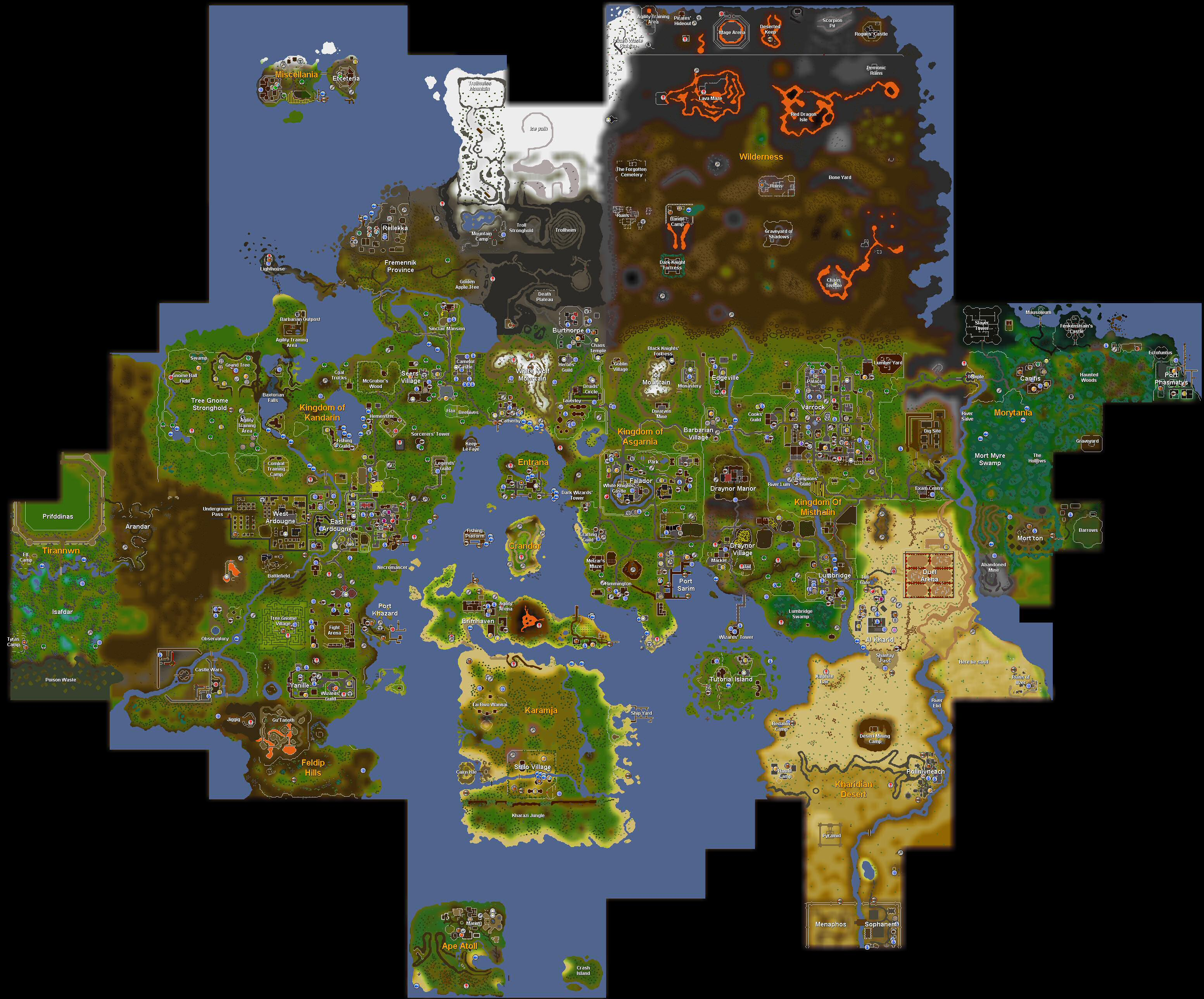 World map of runescape